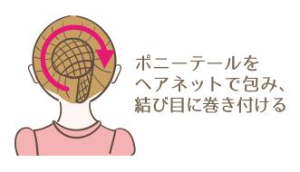 シニヨンの作り方 ポニーテールをヘアネットで包み結び目に巻き付ける